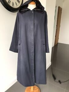 Women's BURBERRY navy hooded raincoat, SB, wool checked lining, size UK12 long