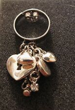 Silver Tone Cluster Charm Ring, Adjustable Size