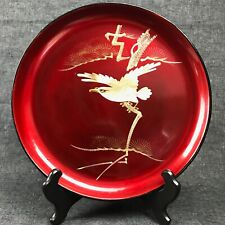 Beautiful Vintage Japanese Lacquerware Plate Red with White Eagle 9