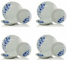 12PC Complete Dinner Set Floral Plates Bowls White/Blue Porcelain Service for 4