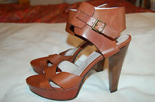 Kooba Brown Leather Platform Heels Ankle Strap Sandals New Shoes Sz 9 Made Italy
