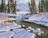 "TOM HAAS (b.1952) 'Spring Snow' oil 8""X10"" Colorado winter realism snow stream"