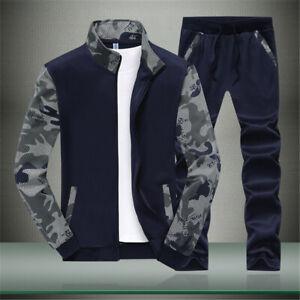 Men Tracksuit 2 Piece Casual Pants Jackets Sweatsuit Sweatshirt Sports Set