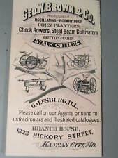 1890's Geo W Brown Corn Planter Check Rower Farm Advertising Trade Card