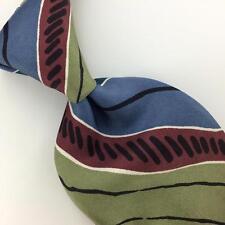 VINTAGE DAMON US MADE STRIPED STEEL BLUE Brown Silk Short Necktie #I2-499 Ties