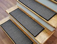 "Black Stair Treads by Rug Depot - Set of 7 Wool Non Slip Carpet Treads 28"" x 9"""