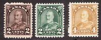 Sc #164 166 168 - Canada - 1930 - KGV -  MH -  F/VF - superfleas - est$18