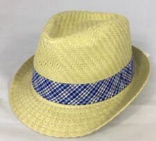 New Joe Fresh Baby Boy  Summer Fedora Hat 12- 24 Months Natural Beige Blue