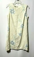 Tommy Bahama Women's Cream Floral Silk Sleeveless Shift Dress Lined Size Small