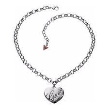 Guess Jewelry Womens Silver Heart Charm Chain Ladies Necklace UBN10103