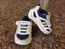 797cd72bc2d9 Champion Toddler Boys Tennis Shoes Sneakers Size 2W White Navy Hook   Loop  EUC