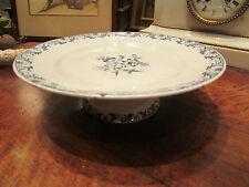 ancien plat assiette sur piedouche luneville K & G modele moustiers fleurs