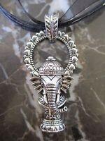 Silver Yoga Ganesha Elephant Medallion Charm Pendant Organza Ribbon Necklace-Ohm