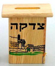 Judaica 10 X 7 cm Table Top Wood Tzedakah Box (Charity) With Jerusalem View