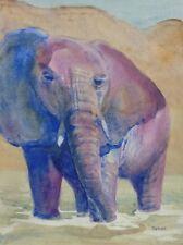Purple Elephant Original Watercolor Painting - RAMfish Artist Wildlife