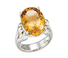Oval Citrine Ring Set in Sterling Silver 12.30 Carats