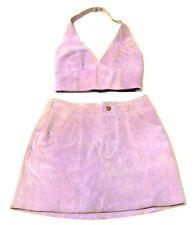 Wilson's Maxima Lavender Suede Leather Skirt & Vest Set Sz 4 XS/S