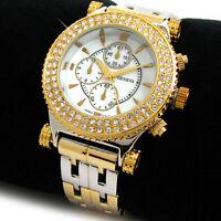 2Tone Bracelet Geneva Crystal Bezel Boyfriend Style Women's Fashion Watch