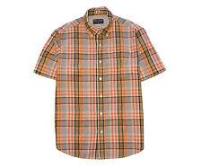 Tailor Vintage Grameen Pink Orange White Blue Plaid Cotton S/S Shirt Medium
