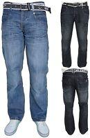 Mens Crosshatch Regular Fit Straight Leg Jeans Casual Denim Trousers - Oakland