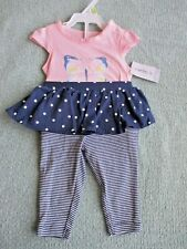 CARTERS~Pink Butterfly SHIRT Navy Blue SKIRT PANTS OUTFIT~Girls 3 Months~NWT