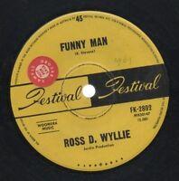 "ROSS D. WYLLIE  Rare 1969 Aust Promo Only 7"" OOP Festival Pop Single ""Funny Man"""