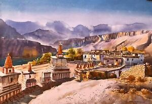 Upper Mustang - Handmade painting Watercolor on paper