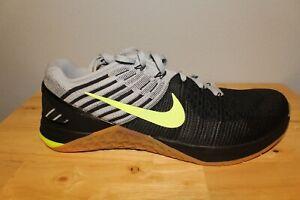 NWOB Nike Metcon DSX Flyknit Black/Grey/Volt Crossfit Shoe 852930-003 Size 11.5