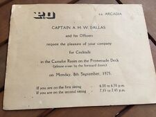 VINTAGE SS ARCADIA P&O CRUISE CAPTAIN COCKTAIL INVITATION TICKET 1975 SHIP