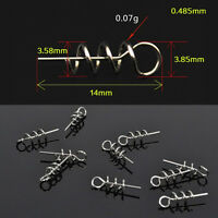 100pcs Soft Lure Baits Hook Pin Spring Fixed Lock Fishing Screw Needle Worm