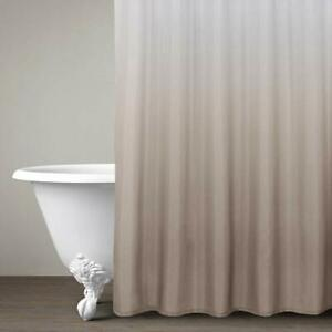 Taupe Ombre Elegant Modern Farmhouse Waterproof Fabric Shower Curtain + Hooks