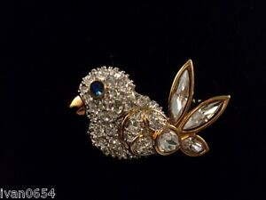 Signed Swan Swarovski Gold Plated Pave' Bird Brooch Pin