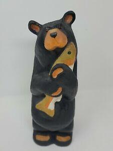 "BEARFOOTS Jeff Fleming Big Sky Carvers Solid Wood Standing Bear w/Fish RARE 12"""