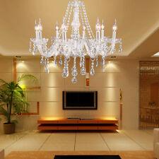 Lustre 8 lampes plafond éclairage intérieur blanc effet de cristal pendentif