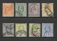 1901 King Edward VII collection of 8 stamps  Used CEYLON