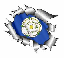 LARGE Ripped Torn Metal Look Design With York Yorkshire Rose Flag car sticker