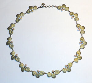 Beautiful MICHAEL MICHAUD Green Bronze LILY PAD Freshwater PEARL NECKLACE