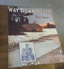 Antique Sheet Music Way Down South George Fairman 1912
