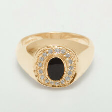 9ct Rose Gold Natural Onyx & Cubic Zirconia Mens Signet Ring - Sizes N to Z