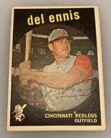 1959 Topps # 255 Del Ennis Baseball Card Cincinnati Redlegs Reds Red Legs