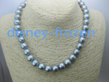 """noblest 11-12mm AAA+  real natural south sea gray round pearl necklace 14k 18"""""""