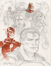 JLA Pencil Sketches - 2015 Signed art by Dave Devries
