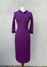 L'Wren Scott S/S 13 Yorkshire Pudding Sz 44 Purple Dress Fitted Midi