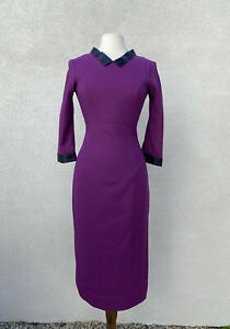 L'Wren Scott S/S 13 Yorkshire Pudding Sz 44 Purple Dress Fitted Midi