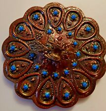 Antique Copper Vanity Hand Mirror Cast Bird Handle Elaborate Decoration Rare