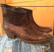 Free People Cowboy Western Ankle Alligator Embossed Boots 37 NEW