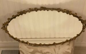 Vintage LARGE Gold Gilt GLOBE MIRROR Antique Vanity Dresser 23 1/2 X 14 1/2 ""