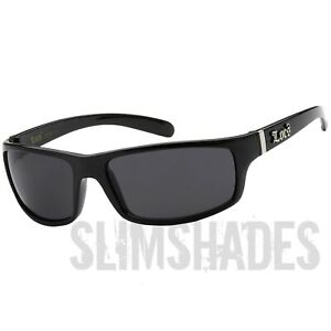LOCS Black Sunglasses Gangster Mens Hardcore Wrap Shades for Driving Riding