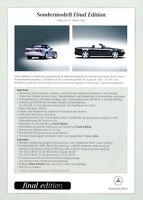 Mercedes SL Final Edition Preisliste 2001 29.1.01 R 129 280 320 500 price list