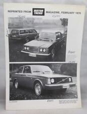 February 1976 Volvo Motor Trend Road Test Reprint Brochure 242DL, 264 DL, 265DL
